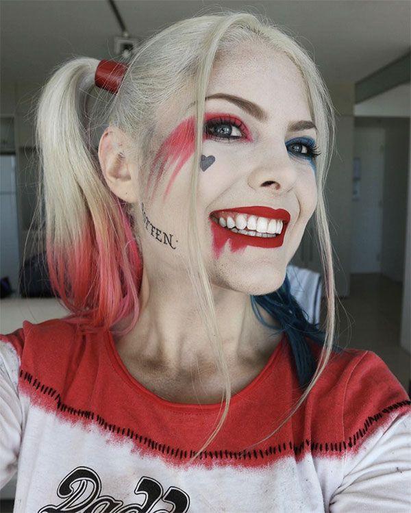 Maquillaje de Harley Quinn - @infamousbylaura